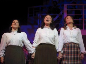 "Sinead Coll (centre) with Shirley Adair and Diane Richardson in the 2005 Irish premiere of ""Titanic , The Musical"""