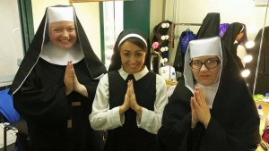 Sr Mary Patrick (me), Sr Mary Robert (Nuala Mannion) and Sr Mary Lazarus (Shirley Adair) backstage in our dressing room.